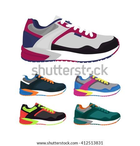 Sports shoes vector set. Fashion sportwear,  sneaker, footwear illustration - stock vector