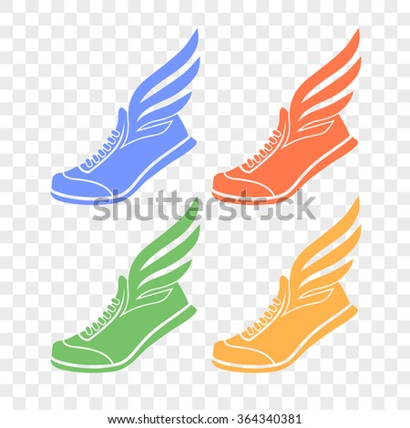 sports shoes with wings icon - stock vector