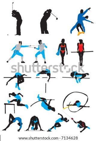 sports, silhouette - stock vector
