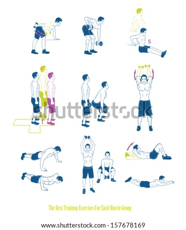 Sports silhouettes. Workout, man in shorts doing sport.Different exercises - stock vector