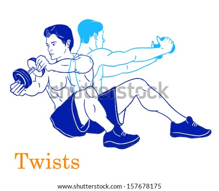 Sports silhouettes. Workout, man in shorts doing sport. Twist
