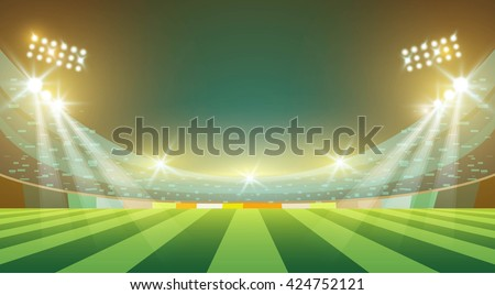 Sports stadium with lights, eps 10 - stock vector