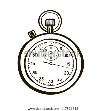 Sports stop watch. A children's sketch - stock vector