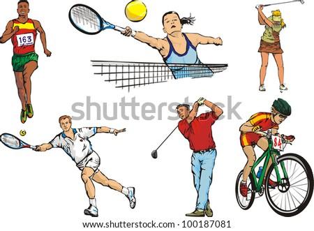sports team figures - outdoor - stock vector