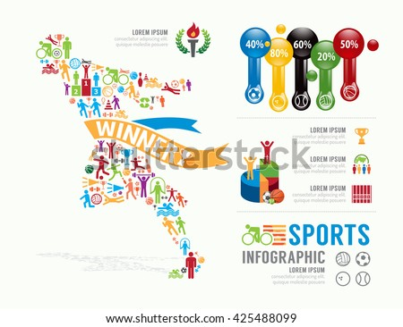 Sports Template Design Infographic . concept vector illustration - stock vector