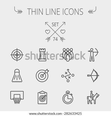 Sports thin line icon set for web and mobile. Set includes- chess rook, target board, crosshair, shuttlecock, basketball hoop, bowling pins, stopwatch, archery, bow and arrow, horse riding icons - stock vector