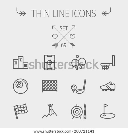 Sports thin line icon set for web and mobile. Set includes-soccer field, soccer shoes, golf flag, target and arrow, ping-pong, podium, skiing icons. Modern minimalistic flat design. Vector dark grey - stock vector