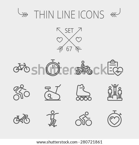 Sports thin line icon set for web and mobile. Set includes- stopwatch, skatboeard, bicycle, mountain bike, motorbike, roller skate, heart and time, winners icons. Modern minimalistic flat design - stock vector