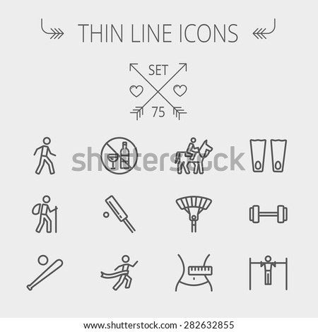 Sports thin line icon set for web and mobile. Set includes- walking exercise, hiking, baseball bat and ball, cricket game, skydiving, flippers icons. Modern minimalistic flat design. Vector dark grey - stock vector