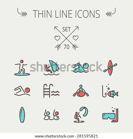 Sports thin line icon set for web and mobile. Set includes -wind surfing, pool, swimming, surfboarding, kayak, wind surf, snorkeling, fishing icons. Modern minimalistic flat design. Vector icon with - stock vector