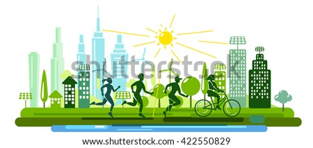 Sports Time and Fitness - stock vector