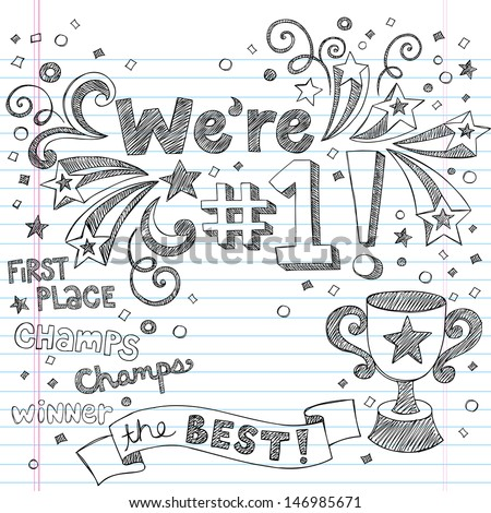 Sports Trophy Winner- We re Number One Back to School Sketchy Notebook Doodles- Illustration Design Elements on Lined Sketchbook Paper Background - stock vector