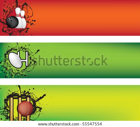 sports web banner grunge style colour illustration - stock vector