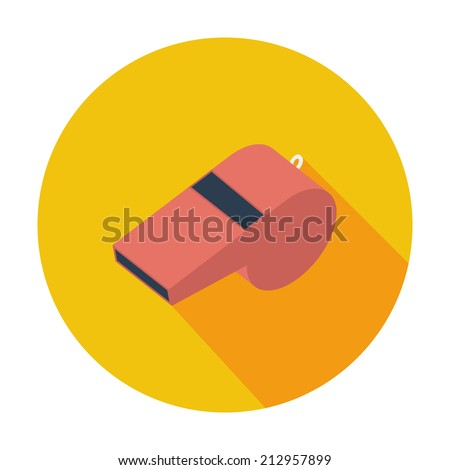 Sports whistle. Single flat color icon. Vector illustration. - stock vector