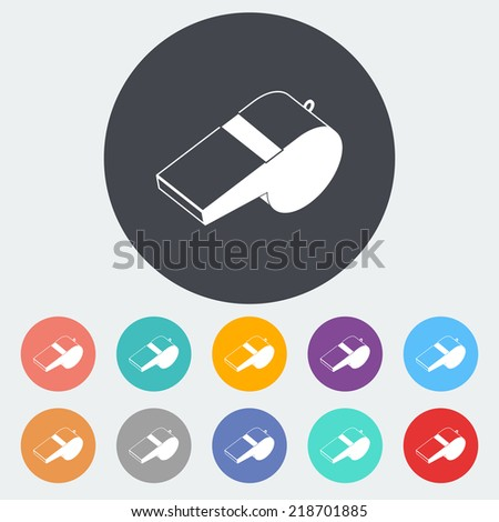 Sports whistle. Single flat icon on the circle. Vector illustration. - stock vector