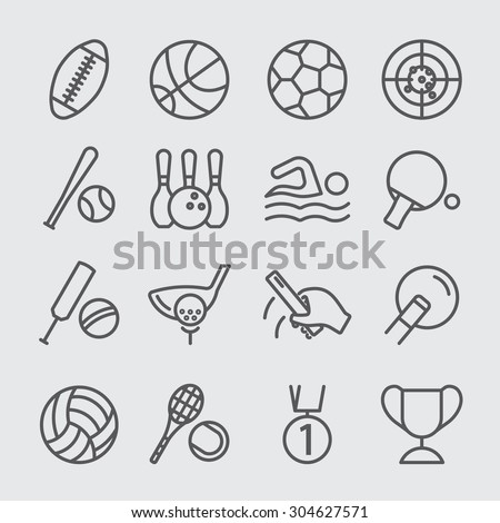 Sports world line icon - stock vector
