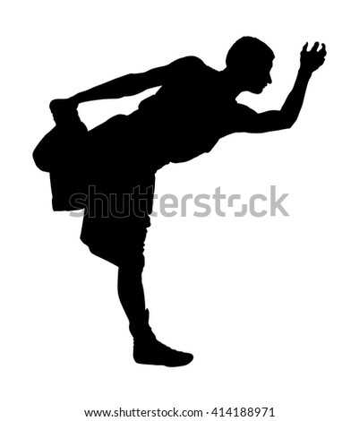 Sportsman boxer worming up and stretching her body at the gym, vector silhouette illustration isolated on white background. losing weight.