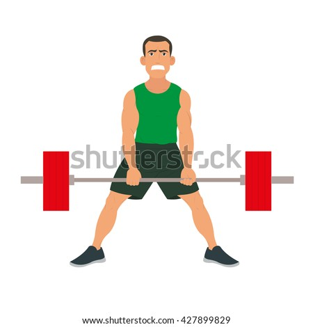 sportsman does exercise deadlift. vector. Male sportsman concept of healthy lifestyle and strong sportsman. sportsman doing exercise with a barbell. sportsman raises a lot of weight. strong sportsman. - stock vector