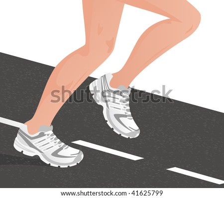 Sportsman running on the road, vector illustration - stock vector
