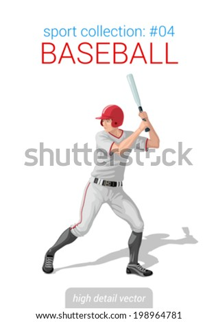 Sportsmen vector collection. Baseball batter bat position. Sportsman high detail illustration.