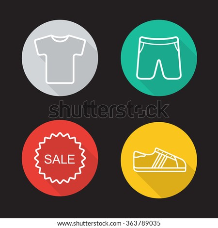 Sportswear flat linear long shadow icons set. T-shirt, shorts, sneakers and sale badge symbols. Sport clothes and shoes. Web store items. Outline logo concepts. Vector line art illustrations - stock vector