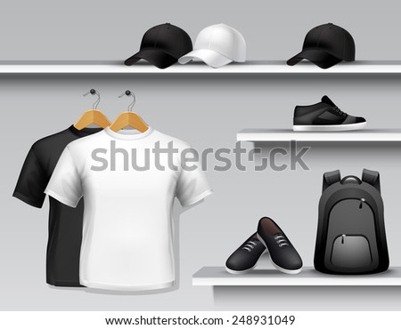 Sportswear store shelf with t-shirts bags caps and shoes vector illustration - stock vector