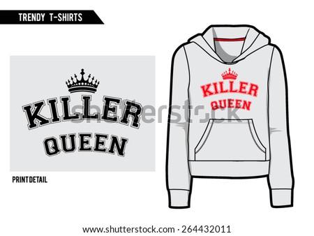Sporty, college slogan with hooded sweatshirt shape,in vector. - stock vector