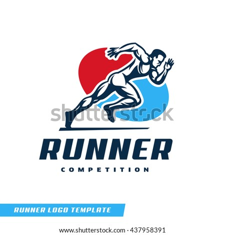 Sporty dynamic logo with a runner