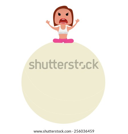 Sporty girl set doing actions for use in advertising, presentations, brochures, blogs, documents and forms, etc. - stock vector