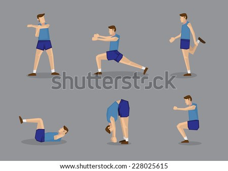 Sporty man in blue singlet and shorts doing stretches and warm-up exercises. Vector illustration set isolated on grey background. - stock vector