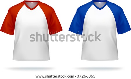 Sporty T-shirts with triangle collar (colored shoulders & sleeves). Can be used as design template. Contains lot of details, gradient mesh & clipping masks used. - stock vector