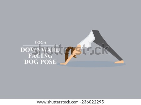 Sporty women in yoga downward facing dog pose by supporting body with hands and feet while pushing hips up. Vector illustration isolated on plain grey background  - stock vector