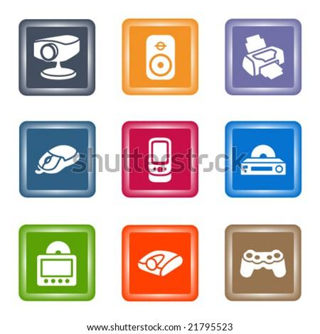 Spot color web icons, set 21 - stock vector