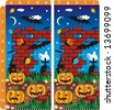 Spot ten differences visual puzzle - Halloween scene (answer: a1, e1, a2, a3, b4, a5, c6, b7, j9, a10) (for JPEG or TIFF - see image 13698583 )