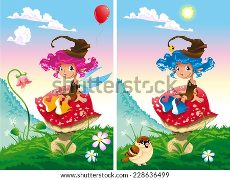 Spot the differences. Two images with ten changes between them, vector and cartoon illustrations - stock vector