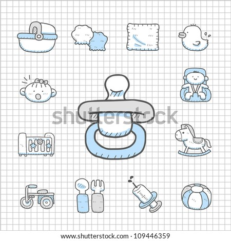 Spotless Series | Hand drawn baby icon set - stock vector