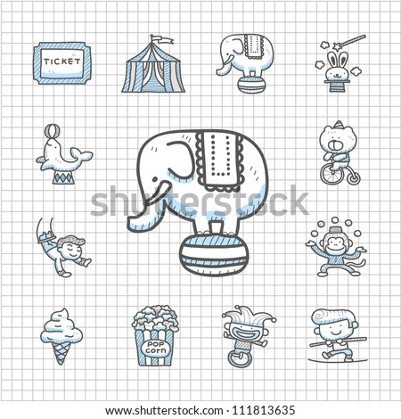 Spotless Series | Hand drawn Circus icon set - stock vector