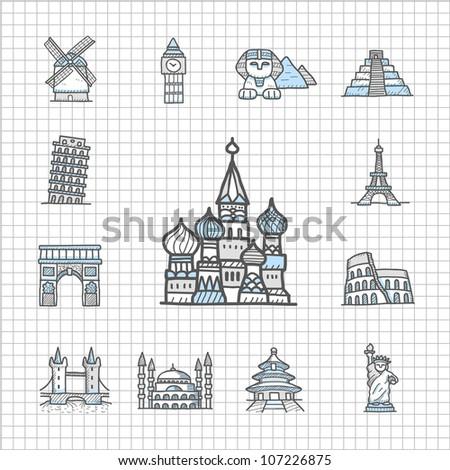 Spotless series | Hand drawn Famous location,Landmark ,travel,vacation, trip icon set - stock vector