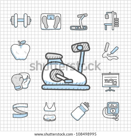 Spotless series | hand drawn fitness icon set - stock vector