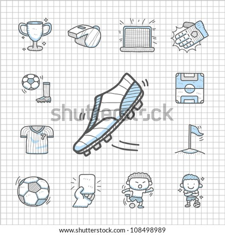 Spotless series | Hand drawn Soccer icon set - stock vector