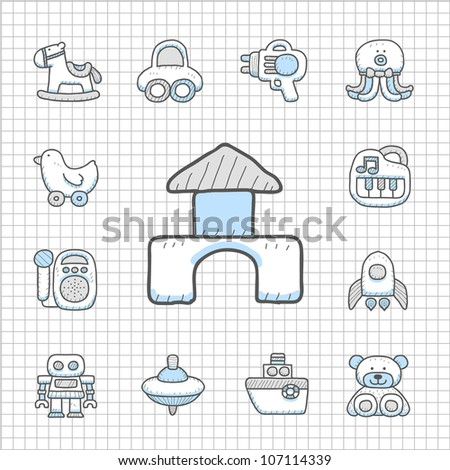 Spotless series | Hand drawn Toy,baby icon set - stock vector