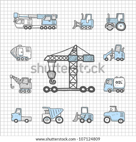 Spotless series | Hand drawn work machine,car,transportation icon set - stock vector