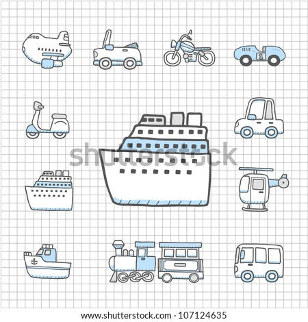 Spotless series | Transportation,car icon set - stock vector