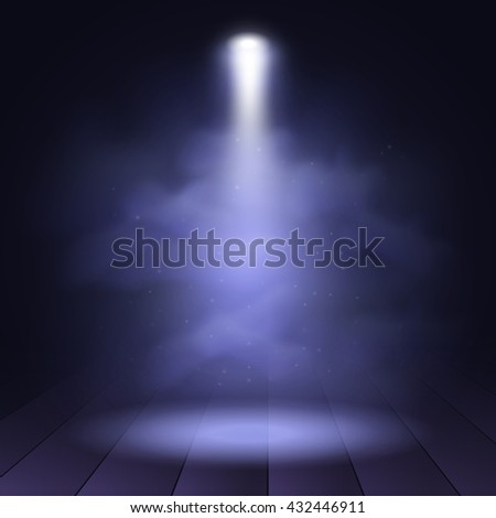 Spotlight disco illuminated wooden scene decoration club theater. Vector projection presentation background illustartion. Spotlight background vector. Stage spotlight. Spotlight effect on scene. - stock vector
