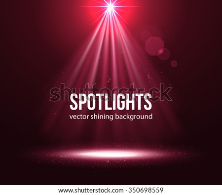 Spotlight effect scene background. Background in show. Abstract light background. Empty space. Vector interior shined with projector. Red Spotlights on stage with smoke and light. Vector Light Effect - stock vector