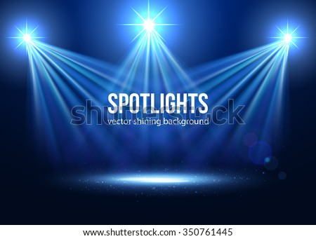 Spotlight effect scene background. Background in show. Abstract light background. Empty space. Vector interior shined with projector. Blue Spotlights on stage with smoke and light. Vector Light Effect - stock vector