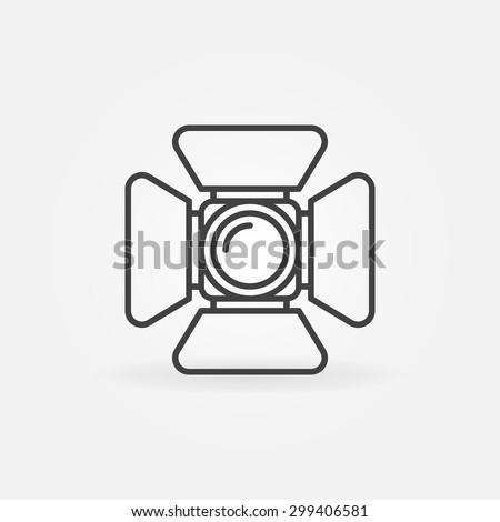 Spotlight icon or logo - vector symbol in thin line style - stock vector