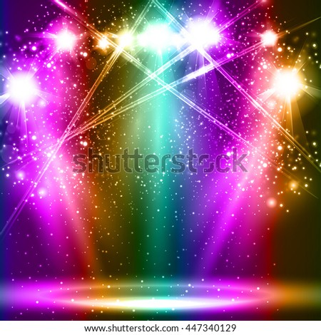 spotlight light background empty scene illustration easy all editable - stock vector