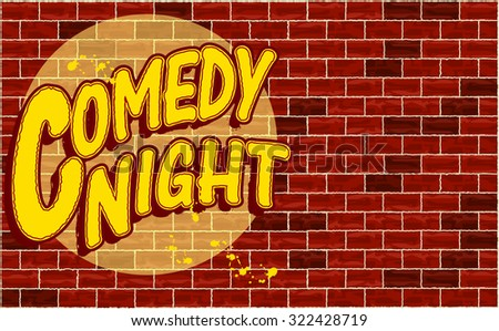 Spotlight on Comedy Night, horizontal design. Vector illustration
