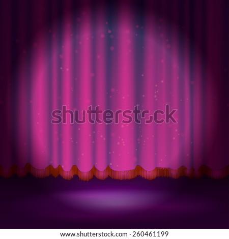 Spotlight on magenta stage curtain. Vector illustration. - stock vector